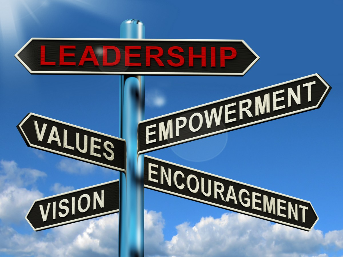 leadership-signpost-showing-vision-values-empowerment-and-encouragement